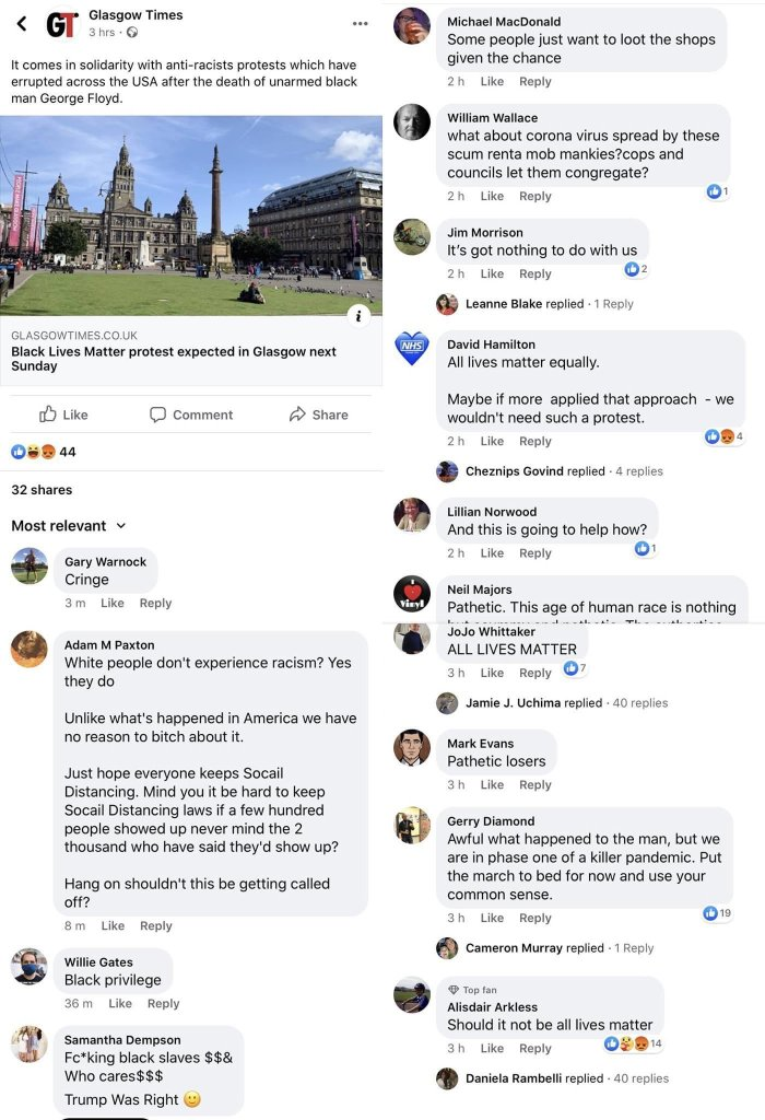 Comments section of a Glasgow Times article about BLM protests